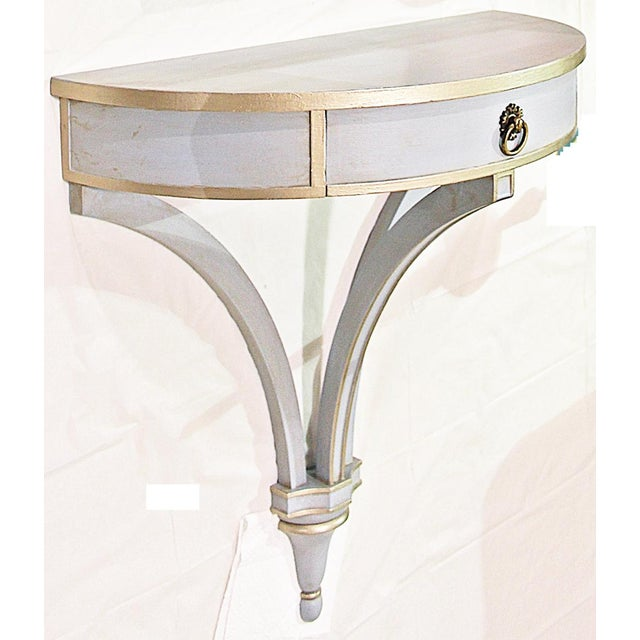 Blue Hanging Painted Wall Console For Sale - Image 8 of 10