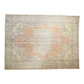 "Vintage Distressed Oushak Carpet - 7'6"" X 10'2"" For Sale"