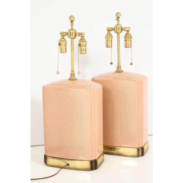 Pink and Brass Crackle Glazed Ceramic Lamps - a Pair For Sale - Image 11 of 12