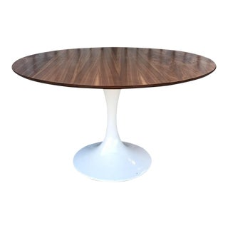 Mid Century Modern Custom Walnut Tulip Table For Sale