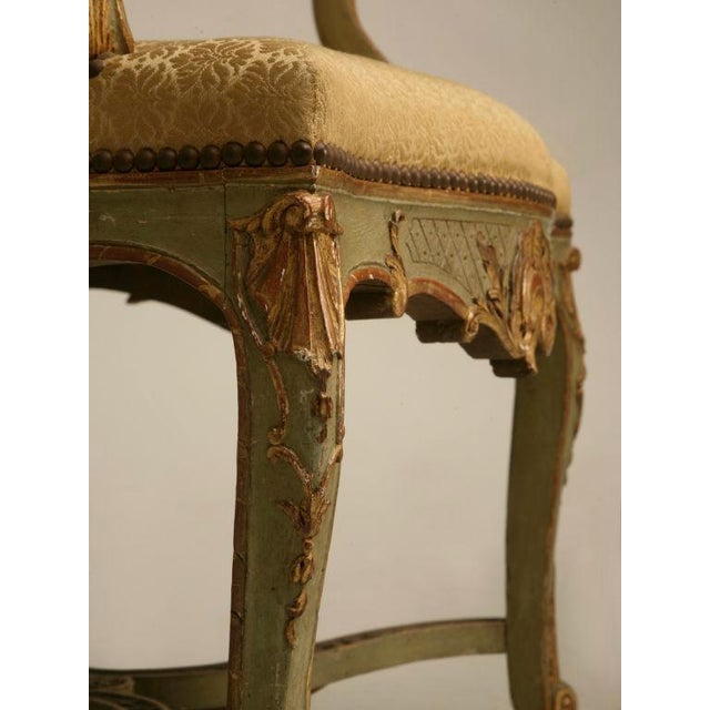 100% Original Antique Italian Painted Louis XV Armchairs - A Pair For Sale - Image 9 of 11
