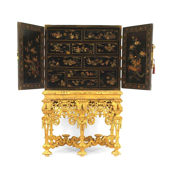 17th Century Chinese Coromandel Cabinet on a Charles II Gilt-Wood Stand For Sale - Image 4 of 12