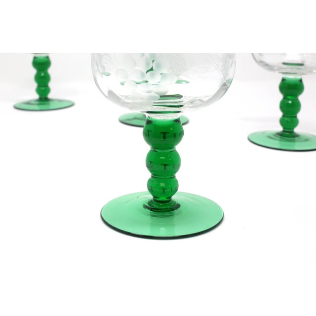 Glass Mid-Century Cordial Glasses With Etched Grapes and Leaves - Set of 4 For Sale - Image 7 of 12