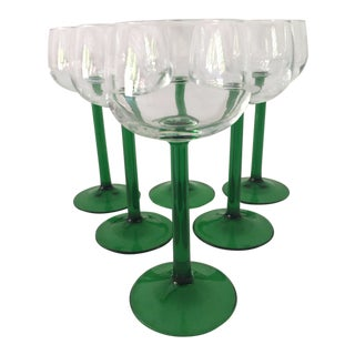 1980s Mid-Century Modern Green & Clear French Wine Glasses - Set of 6