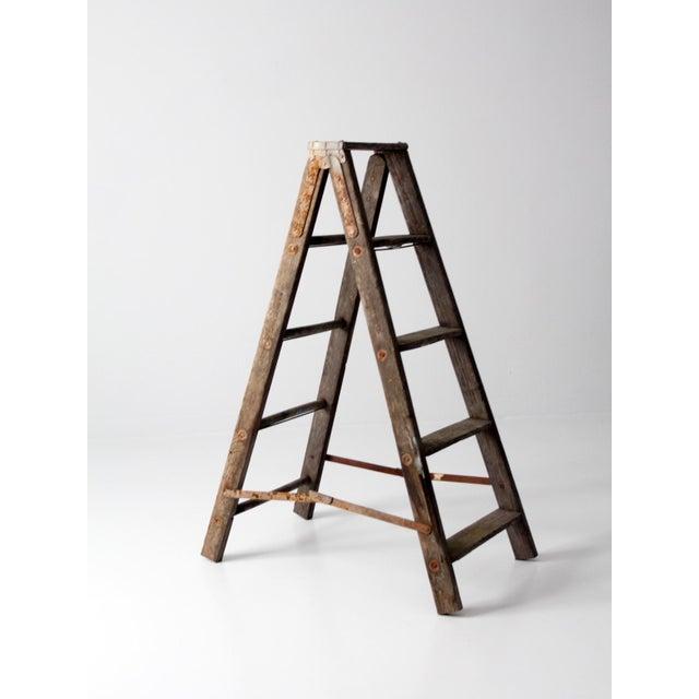 Vintage Wooden Folding Ladder For Sale - Image 4 of 11