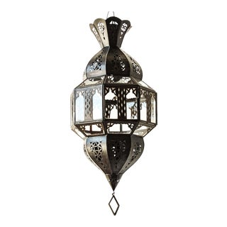 Vintage Handcrafted Granada Moroccan Glass Lantern, Octagonal Shape For Sale