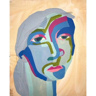 "Contemporary Abstract Portrait Painting ""Here We Go, No. 2"" For Sale"