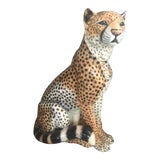 Image of Vintage ITalian Ceramic Cheetah For Sale