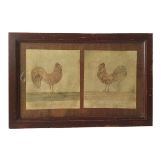 Primitive Watercolor Chicken Paintings For Sale