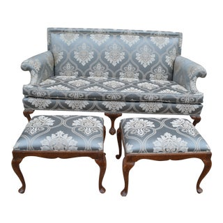 Antique Chippendale Drexel Sofa With Eagle Claw Feet and Two Ottomans Newly Upholstered - 3 Piece Set For Sale