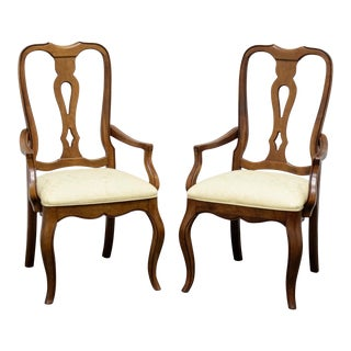 Ethan Allen French Country Dining Captain's Armchairs - Pair 2 For Sale