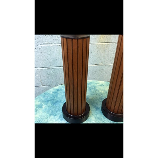 Vintage Slatted Walnut Table Lamps - a Pair - Image 5 of 6