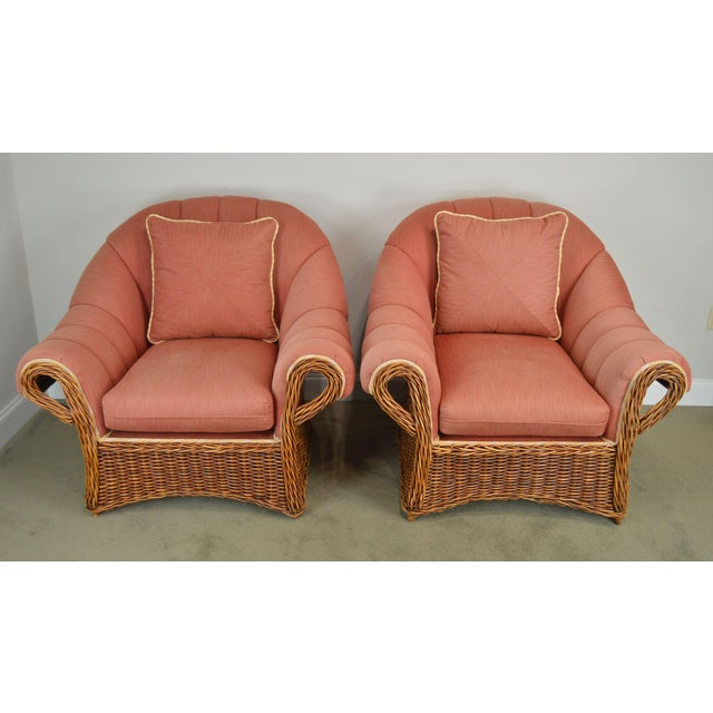 Traditional Pierce Martin Quality Pair Rolled Arm Wicker Lounge Chairs For Sale - Image 3 of 13