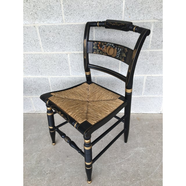 British Colonial Authentic Hitchcock by Lock Rush Bottom Black Harvest Side Chairs - a Pair For Sale - Image 3 of 9