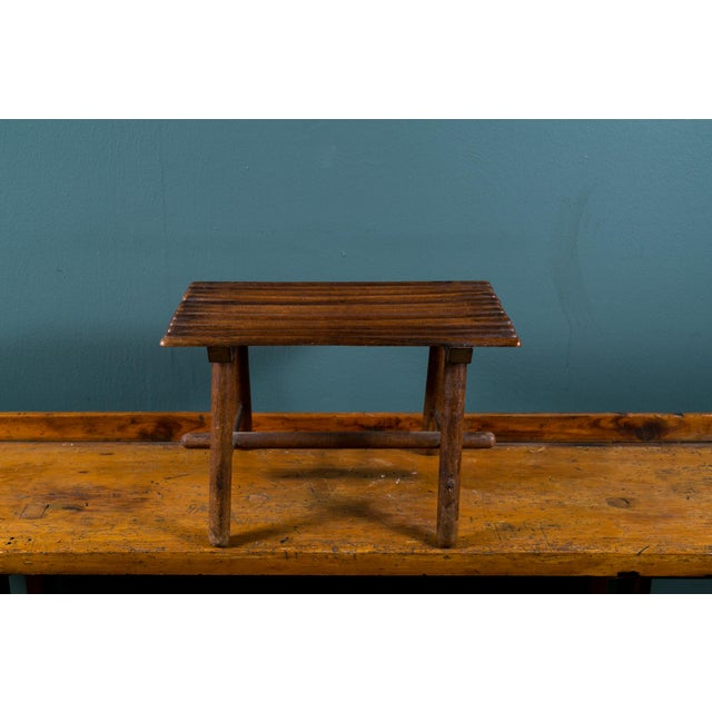 Adirondack Petite Hand-Made Rustic Wood Footstool from Belgium, circa 1920 For Sale - Image 3 of 5