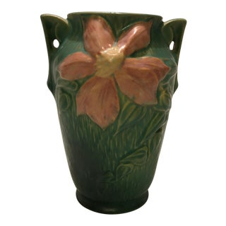 "Roseville Pottery Green ""Clematis"" Vase For Sale"