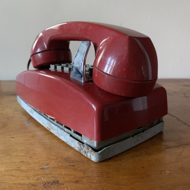1970s Vintage Red Push Button Telephone For Sale - Image 5 of 11