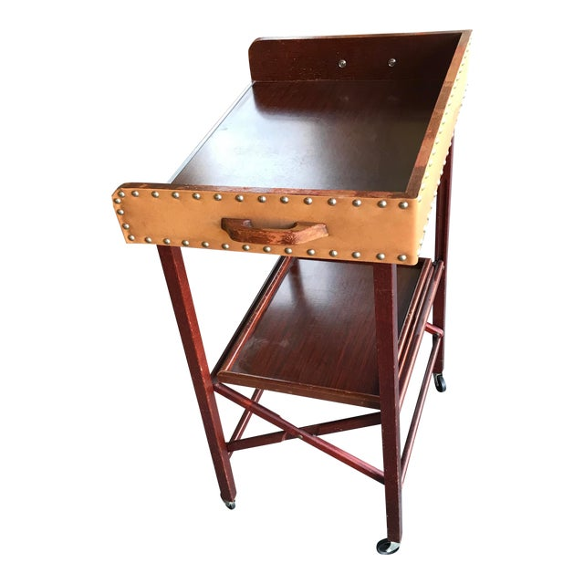 1950's Vintage Portable Bar Server Collapsible Rolling Bar Cart For Sale