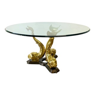 Monumental Brass Asian Dolphin Pedestal Dining Table For Sale
