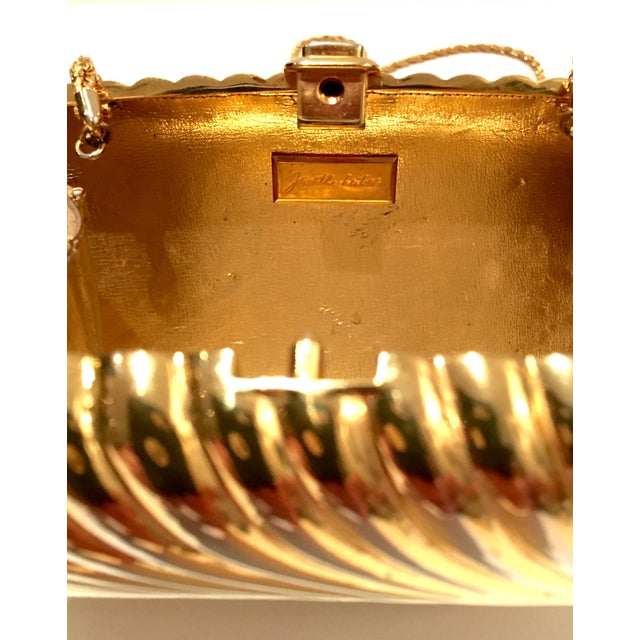 Animal Skin 20th Century Judith Leiber Gold Ribbed Minaudière Box Clutch Evening Bag For Sale - Image 7 of 8