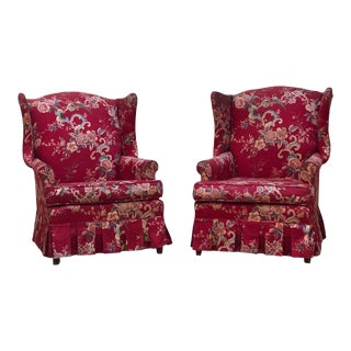 Red Floral Chintz Wingback Chairs - a Pair For Sale