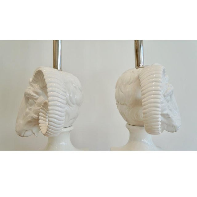 1960s Ceramic Rams Head Table Lamps - a Pair For Sale - Image 4 of 9