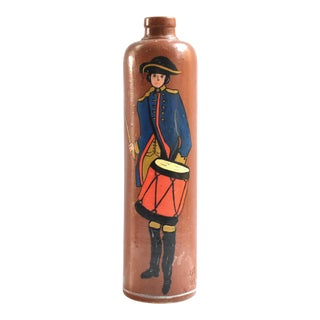 Antique Brown Stoneware Gin Bottle With Painted Revolutionary Soldier For Sale