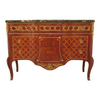 1980s French Louis XV Style Marble Top Marquetry Inlaid Commode For Sale