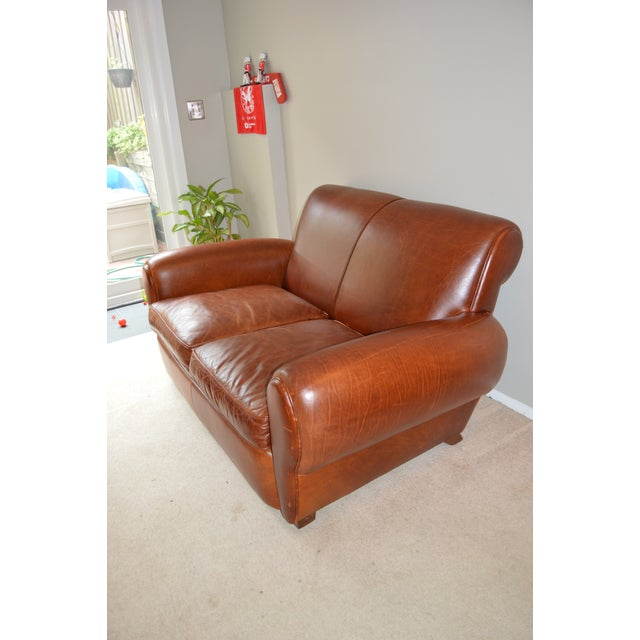 Traditional Restoration Hardware Leather Loveseat For Sale - Image 3 of 8