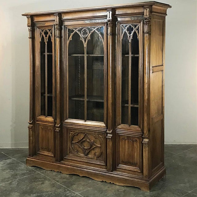 19th Century Gothic Walnut Triple Bookcase For Sale - Image 4 of 12