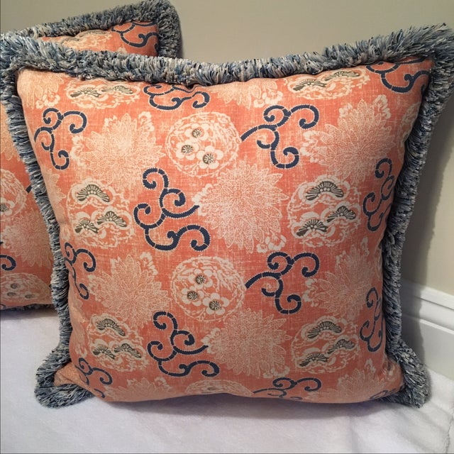Quadrille Pillows with Samuel & Sons Trim - Pair - Image 5 of 8