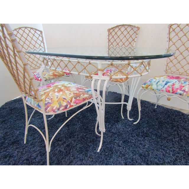 White 20th Century Boho Chic Iron & Rattan Dining Set - 5 Pieces For Sale - Image 8 of 10