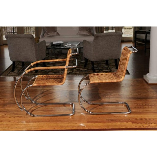 Mid-Century Modern Pristine Set of Eight Italian Wicker Chairs For Sale - Image 3 of 10
