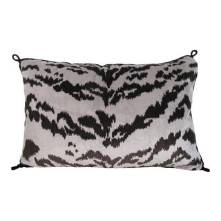 Hollywood Regency Silk Velvet Tiger Stripe Pillow For Sale