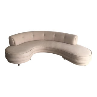 Mid-Century Art Deco Curved Sofa For Sale