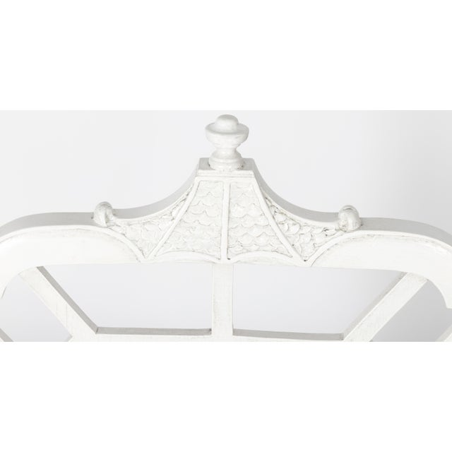 White White Chinoiserie Pagoda Motif Newly Upholstered Settee For Sale - Image 8 of 11