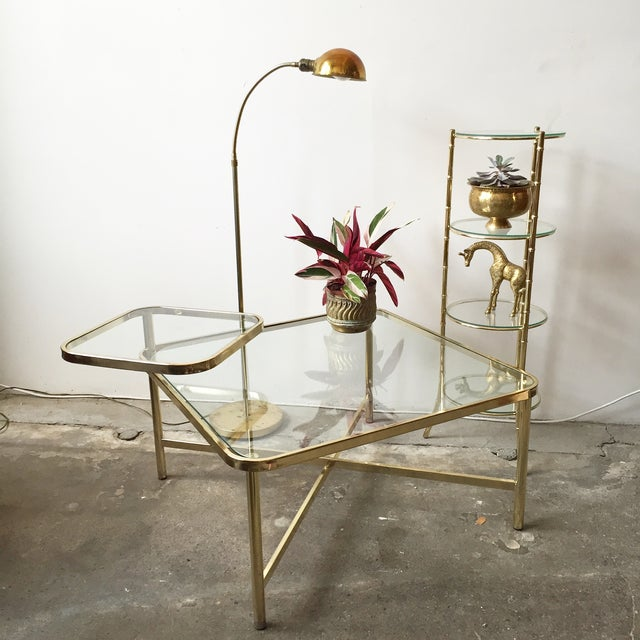 Baughman Style Brass & Glass Swivel Coffee Table - Image 9 of 9