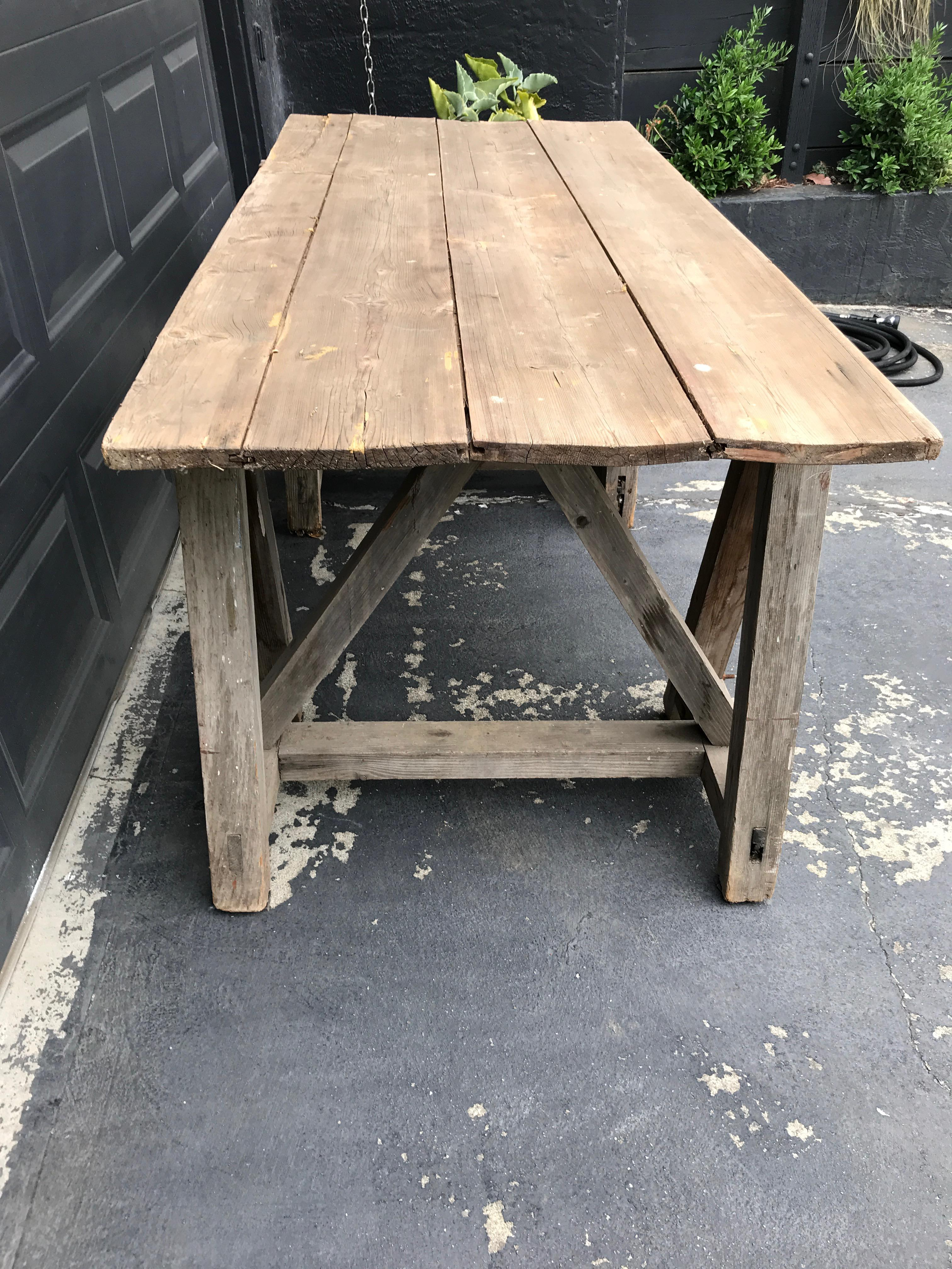 1920s French Wooden Trestle Table For Sale   Image 4 Of 11