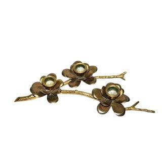 Vintage Brass Lotus Flower Branch Taper Candle Holder For Sale