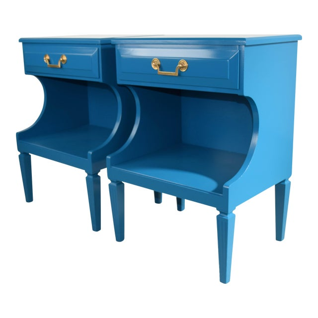 20th Century Italian Baroque Teal Blue Side Tables - a Pair For Sale