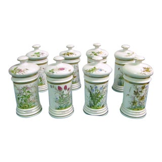 Floral Motif Apothecary Jars/Canisters - Set of 8