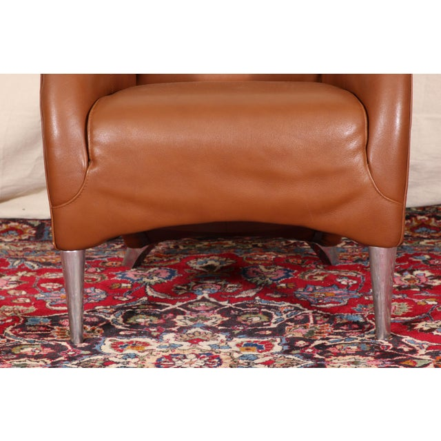 Mid 20th Century Vintage Molinari Tan Leather Armchair For Sale - Image 5 of 11