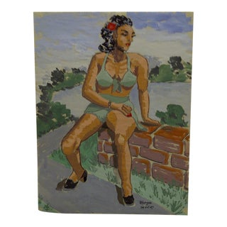 "1947 Mid-Century Modern Original Painting on Paper, ""Sitting on a Wall"" by Tom Sturges Jr"