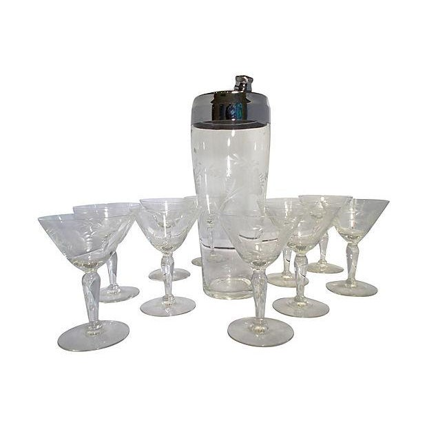 Etched Glass Martini Set - Set of 11 - Image 1 of 6