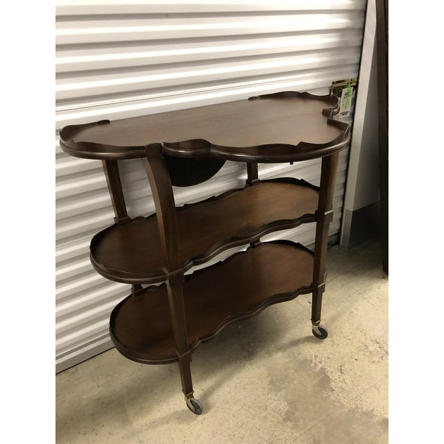 Brown 20th Century Traditional Three Tier Shelf or Bar For Sale - Image 8 of 11