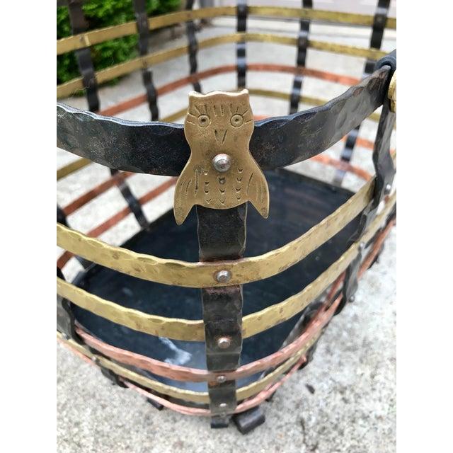 Vintage Mid Century Antonio Vignola Italy Storage / Fire Wood Basket For Sale - Image 9 of 13