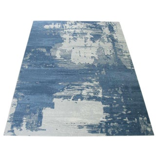 Abstract Blue Area Rug- 5'4''x 7'7''