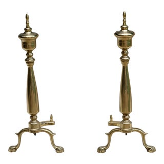 20th Century Solid Brass Andirons - a Pair For Sale