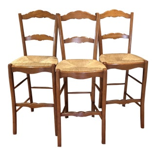French Country Rush Seat Wooden Bar Stools - Set of 3