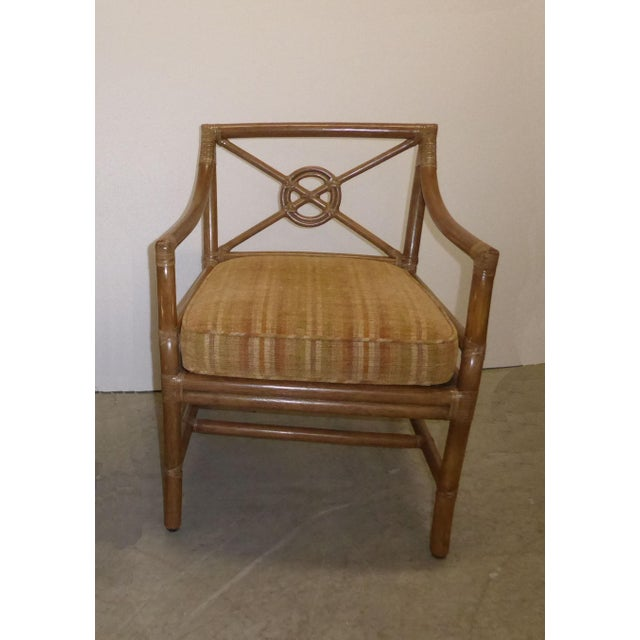 Vintage Mid Century Modern McGuire Tan Stripped Bamboo Rattan Accent Chair For Sale - Image 12 of 12